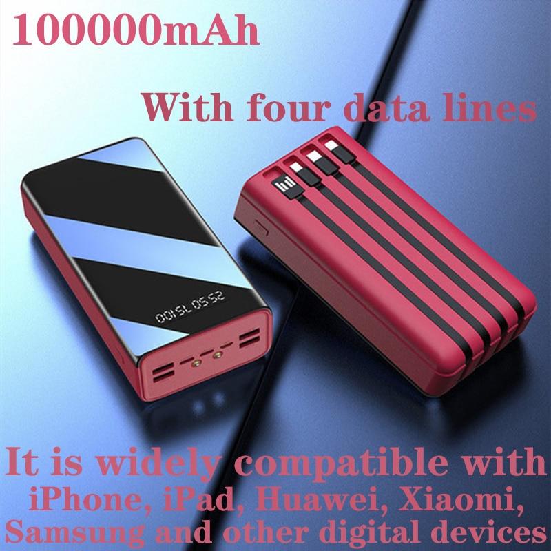 100000mAh نوع C المصغّر USB شحن سريع Powerboat LED عرض شاحن بطارية محمولة خارجية لشحن هاتف لوحي 3A