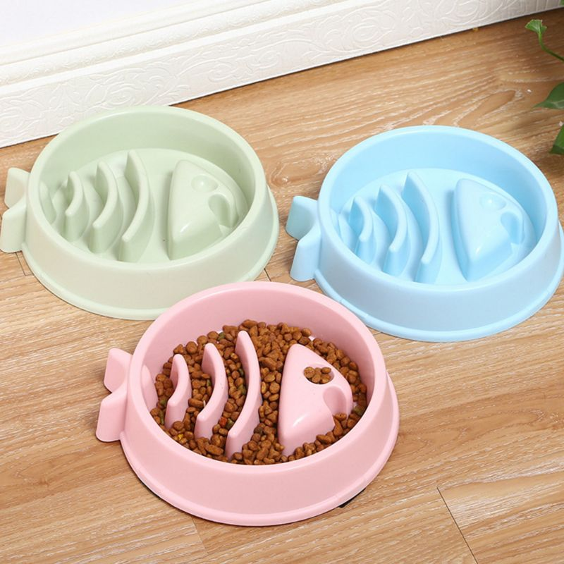 Pet Slow Eating Feeder Fish Shape Dog Bowl Bloat Stop Healthy Food Plate Dishes
