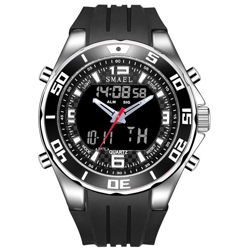 Smael relógio masculino esportes relógios de borracha banda analógica digital led relógio de pulso de quartzo eletrônico azul relogio masculino heren horloge