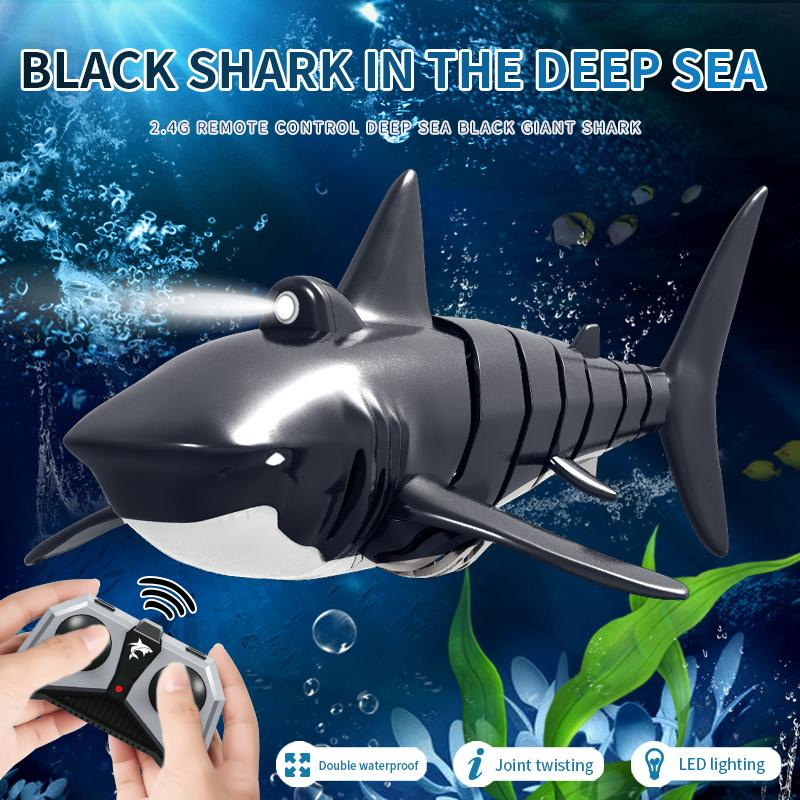 JY028 2.4G Remote Control Shark Boat With Light Simulation Toy Waterproof RC Shark Model Swing Boat