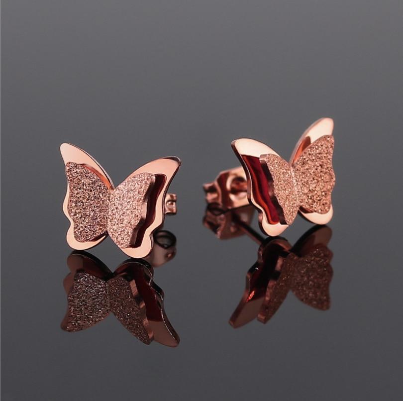 Oly2u aço inoxidável bonito borboleta brincos feminino senhoras nupcial festa de casamento jóias moda earing para mulher 2020