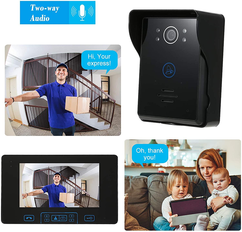 2.4GHz Wireless Video Doorbell Intercom System Camera Door Bell with 7 Inch Screen Monitor Unlock Access Control for Home Villa enlarge