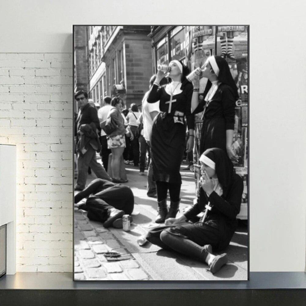 ВИНТАЖНАЯ фотография Черно-белый плакат сигарета забавная настенная Картина на холсте принты курительные монахи домашний Декор Картина Ст...