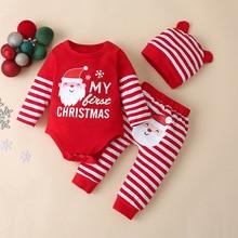 Bear Learder Cute Baby Boy Girls Set New Christmas Letter Romper Pant Newborn Hat Boys Outfits Girl