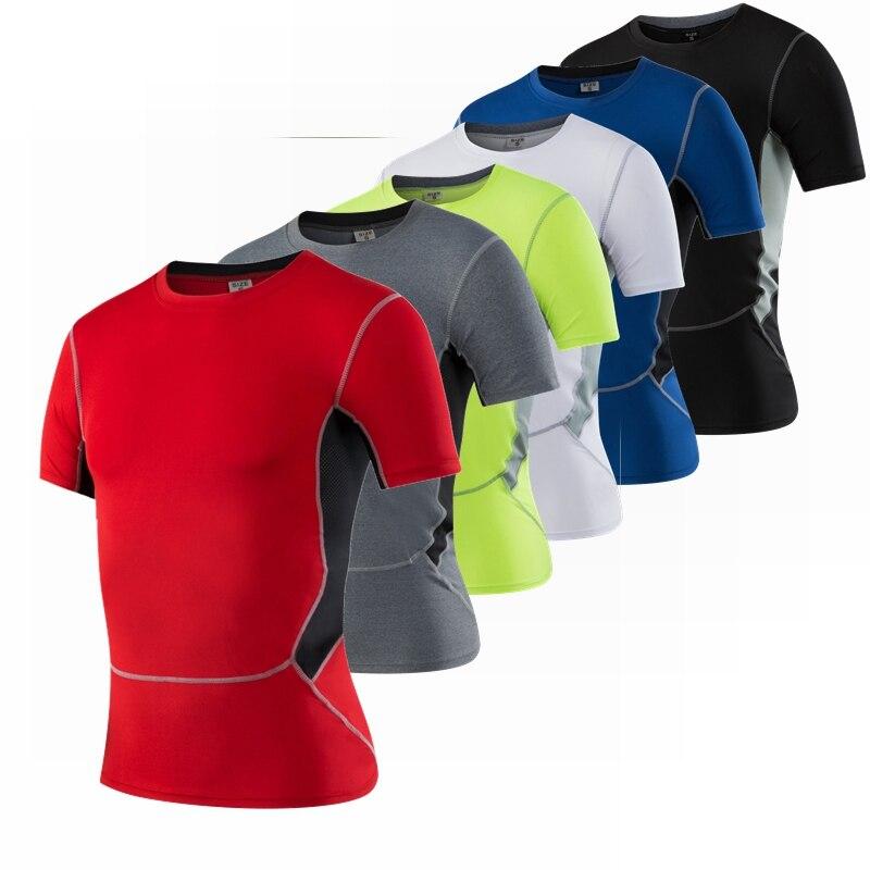 Однотонная Спортивная хлопковая футболка, Короткая Повседневная мужская футболка для тренажерного зала, бега, фитнеса, спорта, бега, бега, М...