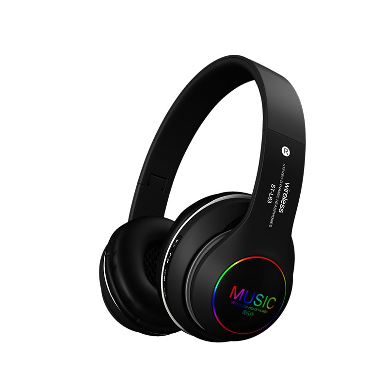 Explosive head-mounted wireless bluetooth headset folding LED colorful light sports headset bass stereo noise canceling headset enlarge