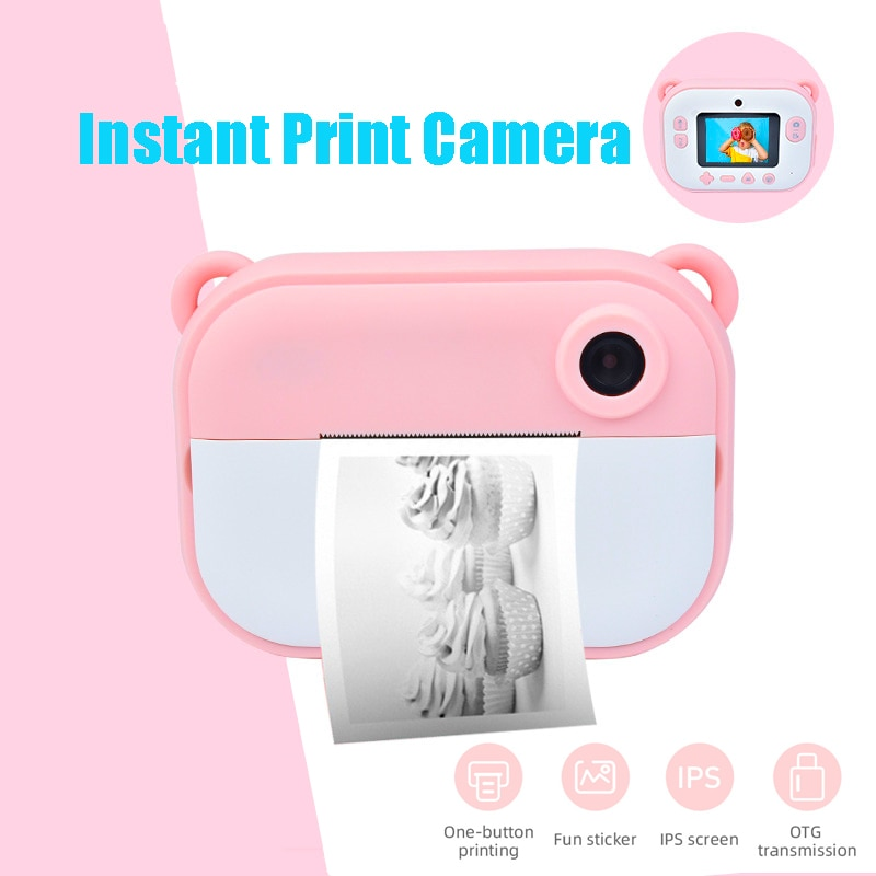 Kids Camera Instant Print Camera  Snapshot Digital Small Mini Toy Camera HD  Dual Lens Selfie Video for Birthday Gift Outdoor