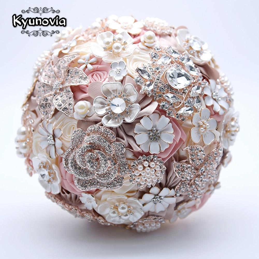 Kyunovia flores de seda para boda joyería de diamantes de imitación broche de Rosa ramo broche de oro de novia vestido de novia ramo de novia FE93