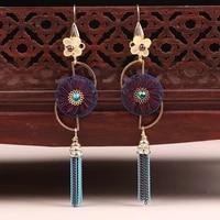 ancient chinese jewelry long tassel earrings women ethnic bohemian drop dangle earrings mother gifts