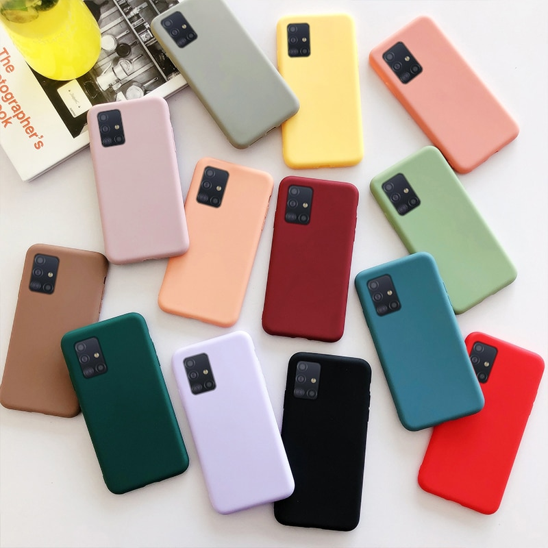 AliExpress - Candy Color Silicone Phone Case For Samsung Galaxy A32 4G A02S EUR A12 A42 A52 A72 A51 A71 5G M51 M31S Matte Soft Tpu Back Cover