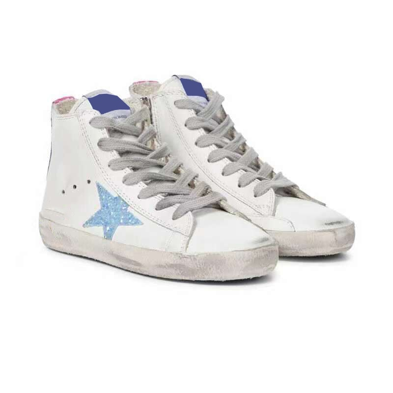 Autumn and Winter Product Parent-child Casual Toe Top Layer Cowhide Retro Old Fashion Non-slip High-top Children's Shoes QZ143