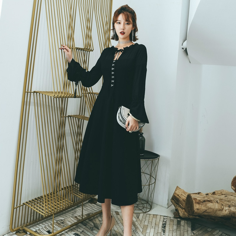 L-5XL Plus Size Black Summer Dress 2020 for Women Long Sleeve Sheer Retro Bandage Dress Women Corset Vintage Dress Ladies Elbise