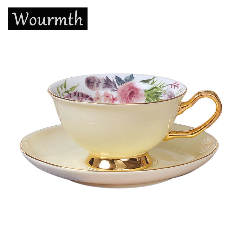 Wourmth أكواب قهوة صيني & طقم أكواب رائعة الذهب حافة الشاي أكواب مياه جميلة زهرة فنجان الشاي السيراميك اكسسوارات المطبخ