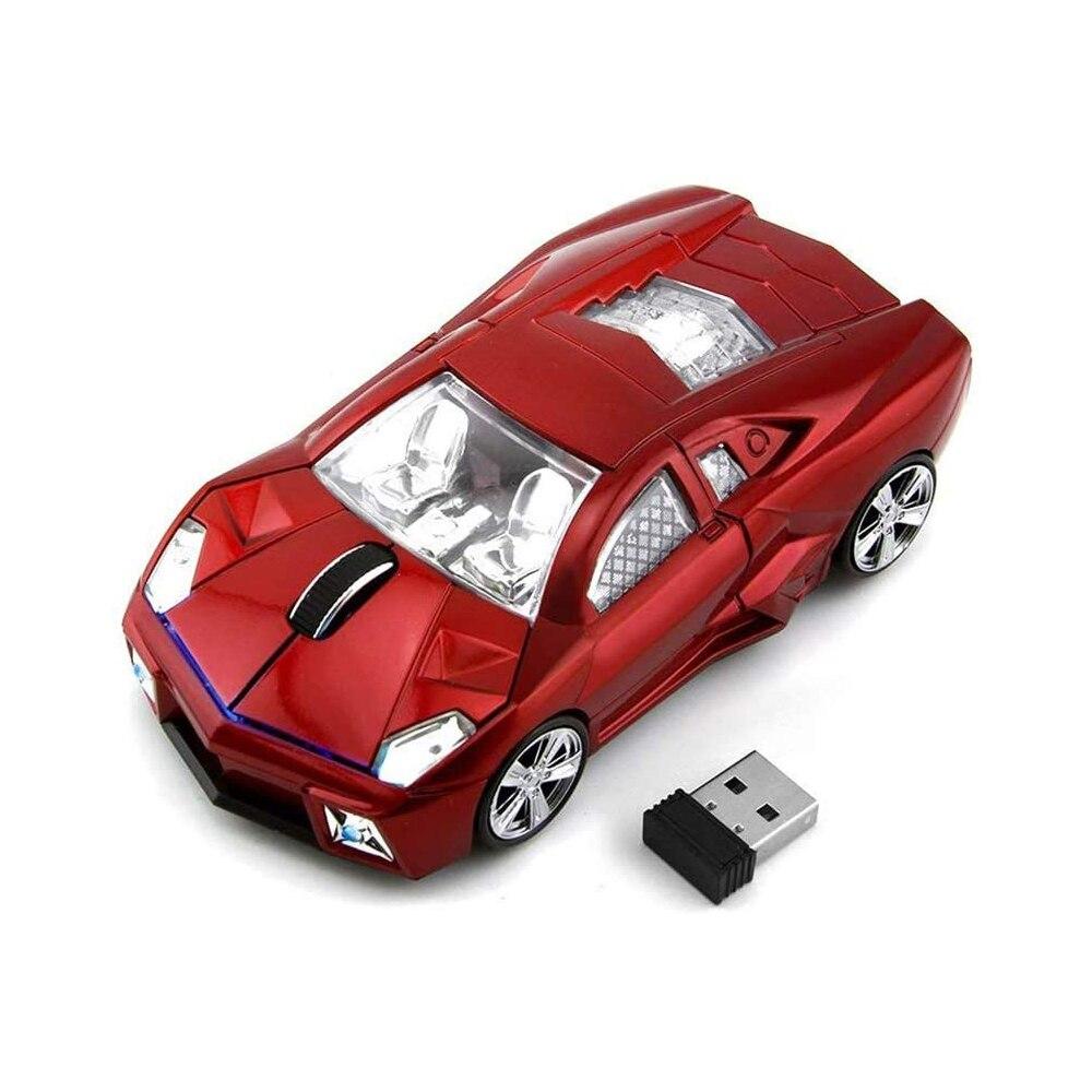 Rato de Computador Óptico sem Fio do Carro Ratos para o Presente da Menina Gamer com Luz Led para Acessórios do Portátil Escritório Mause Usb 1600dpi 3d