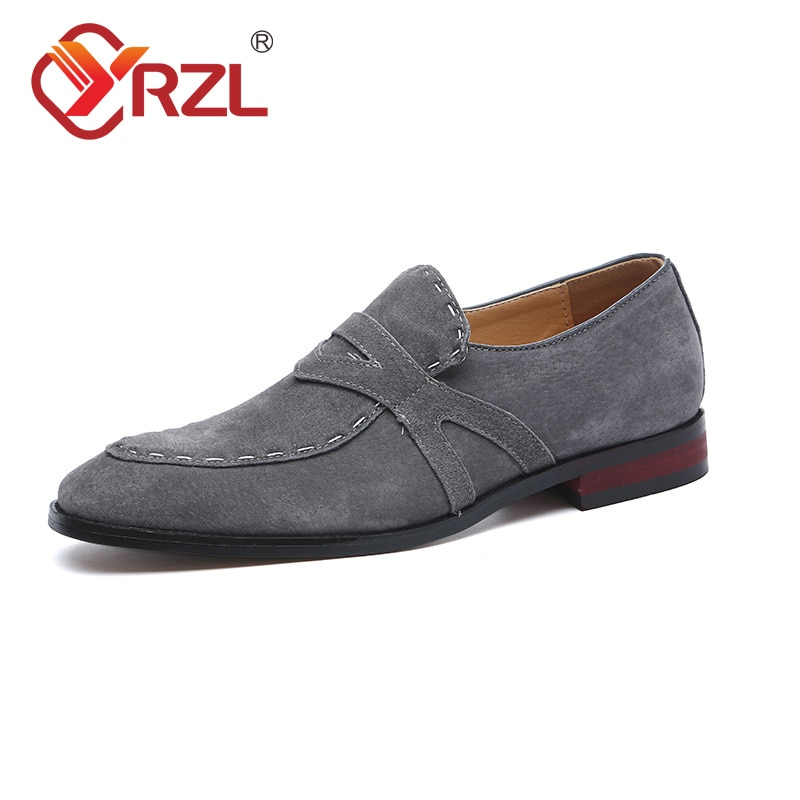 Кожаная обувь YRZL для мужчин, кожаная обувь, деловая обувь, мужская брендовая кожаная черная обувь, свадебная мужская обувь, кожаная обувь