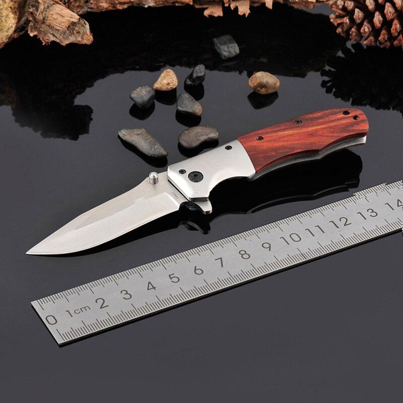 Hisenss cuchillo plegable 3Cr13 hoja palo de rosa mango táctico cuchillo de bolsillo Camping EDC herramienta de caza cuchillo de supervivencia