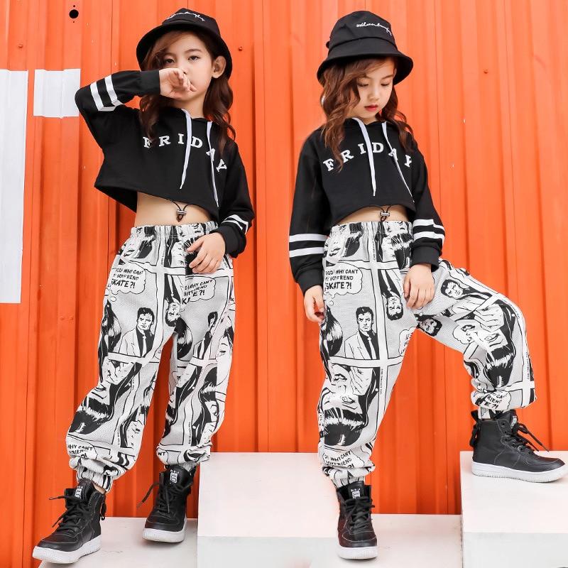 2021 Ropa de Hip-Hop para niños Tops cortos con letras de Sudadera...