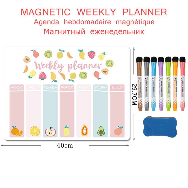 Magnetic Weekly Monthly Planner Fridge Magnet Stickers Writing Message Drawing Memo Dry Erase Calendar Soft White Board for Wall