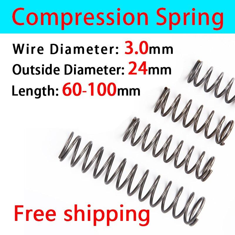 Resorte de retorno comprimido diámetro del cable 3,0mm, Diámetro externo 24mm, longitud 60mm-100mm resorte de presión venta en efectivo