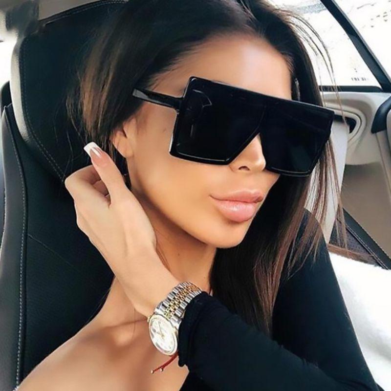 Classic Oversized Square Sunglasses Plastic Black Shades Women Luxury Designer Flat Top Sun Glasses For Men Big Frame Eyewear