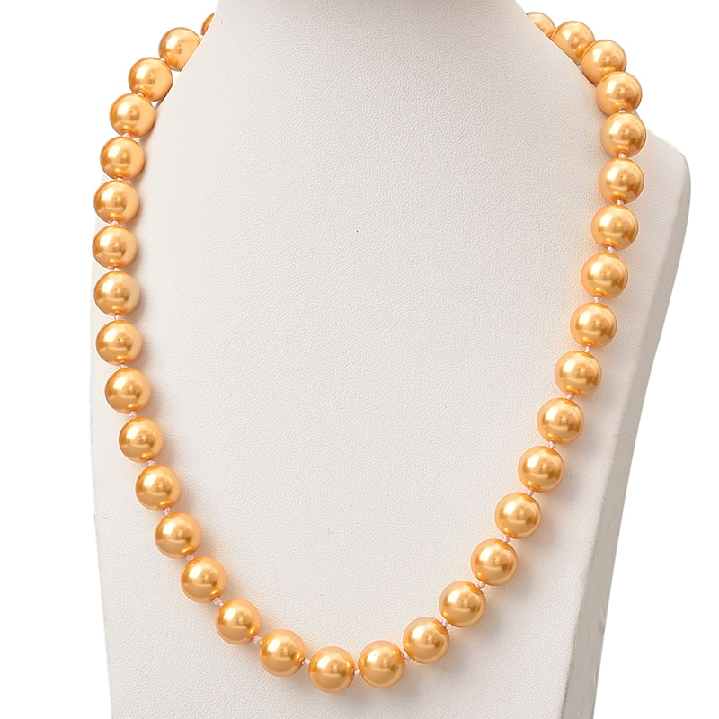 Collar de perlas de oro de estilo de moda collar de perlas redondas de 10mm collar Artificial aniversarios regalos de declaración de 18 pulgadas para mujer H850