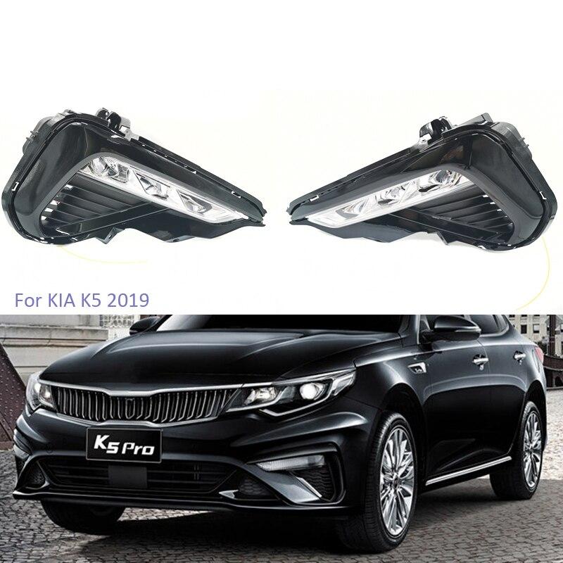 Luces de circulación diurna YTCLIN 2 uds para Kia Optima K5 2019 2020 coche LED DRL luz diurna faro antiniebla coche con luces Stlying