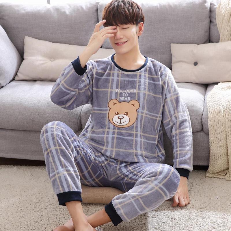 Плюс размер ночное белье длинный рукав зима теплый фланель пижамы комплекты принт пижамы длинные брюки мужские мужские пижамы комплект