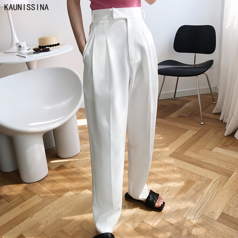 Straight High Waist Pants Women Summer Autumn Suit Pant Loose Trousers White Casual Wide Leg Full Length Mopping