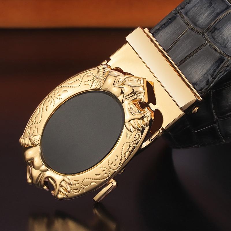 Genuine leather automatic buckle lion belts men luxury brand Waist strap Crocodile pattern Casual High Quality ceinture