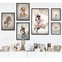 Peinture sur toile nordique pour decor de maison  affiche dart mural lapin filles garcons  image de dessin anime imprime pour chambre denfant