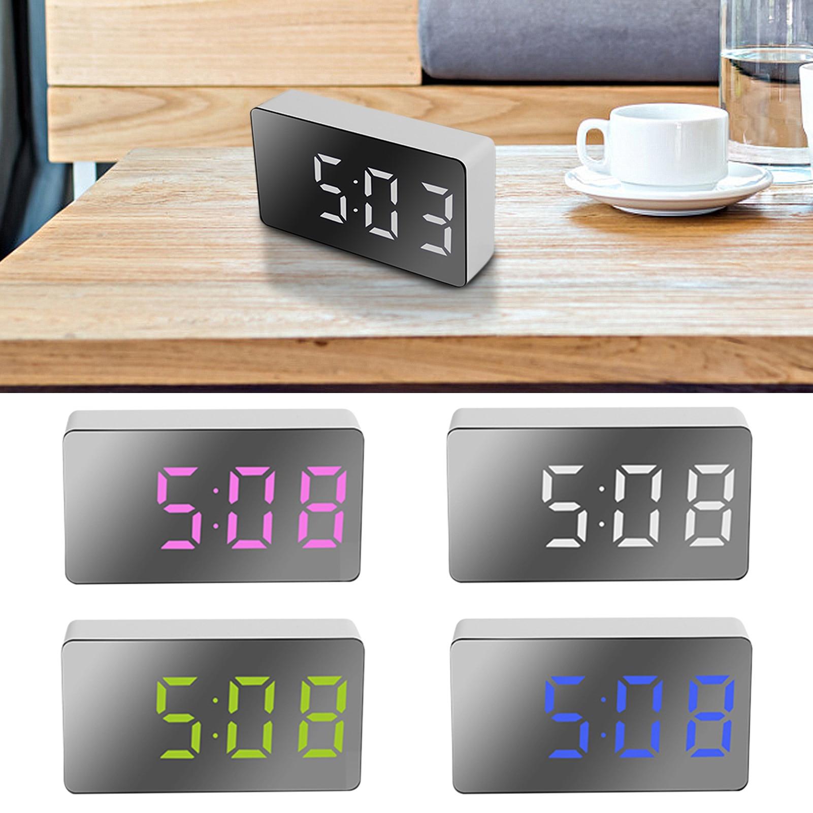 Mini Desk Alarm Clock Digital Mirror LED Big Display Bedroom Snooze Timer Home Electronic Table Cloc
