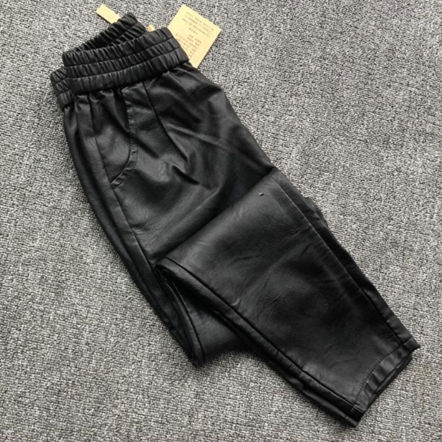 Mode hiver femmes épais en cuir véritable pantalon taille haute décontractée peau de Mouton pantalon femelle noir pantalons Extensibles F520