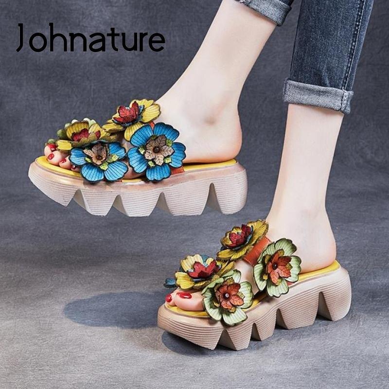 حذاء نسائي وردي جلد طبيعي من Johnature خف نسائي صيفي 2021 جديد خف نسائي للخياطة الخارجية خف نسائي للترفيه