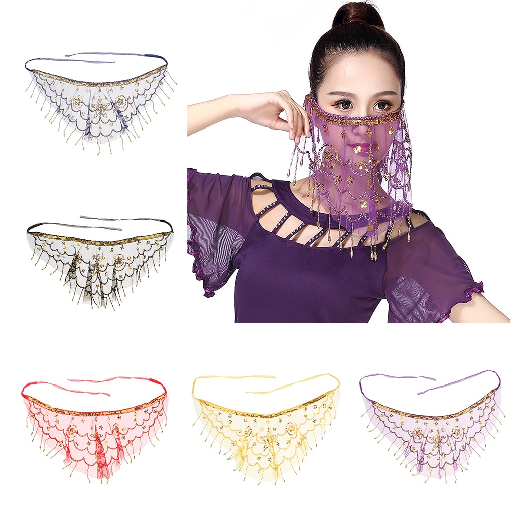 5 Colors Halloween Party Belly Dance Face Veil Stage Performance Wear Veil