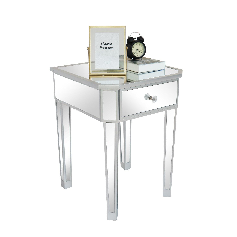 مرآة سطح منضدة السرير الجدول 1 درج الجانب نهاية طاولة مجلس الوزراء 45x45x62 سنتيمتر الفضة [لنا المخزن]