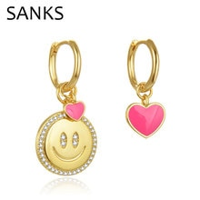SANKS Colorful Enamel Drop Earrings for Women Girls Party Gift Accessories Smiling Face Heart Asymme