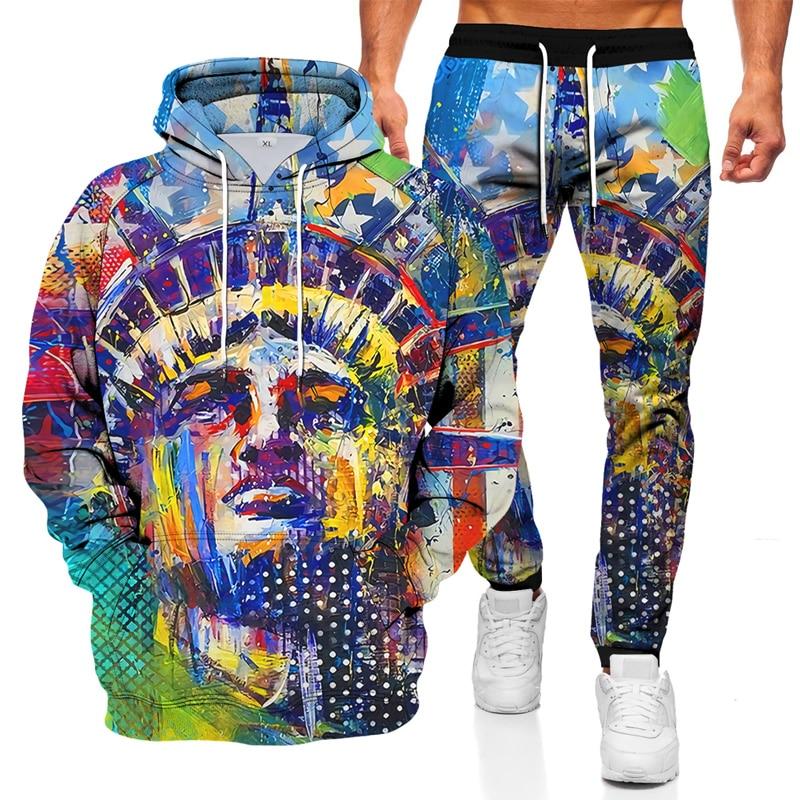 الخريف والشتاء الرجال شخصية الطباعة اللون مطابقة ملابس رياضية عصرية دعوى جيب معطف بقلنسوة بنطلون قطعتين دعوى