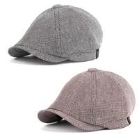 new fashion cap men and women plaid beret cape british painter hat spring summer painter hat adjust peaked cap cape flat cap