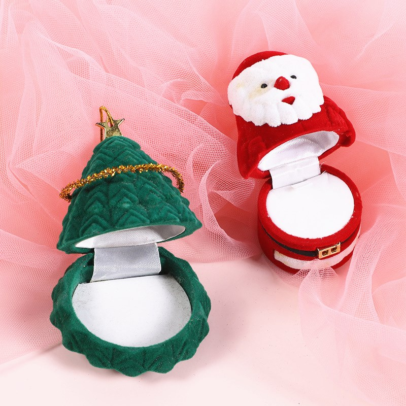 HOSENG Green Flannel Christmas Tree Ring Box Mall Activities Surprise Romantic Jewelry Santa Claus Velvet Packaging Case HS_901