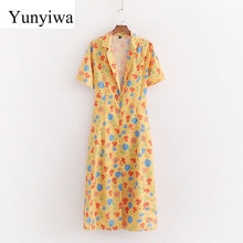 2020 Women's New Yellow Floral Print Dress Women Dresses Summer Sexy Party Long Maxi Dress Elegant Vestidos