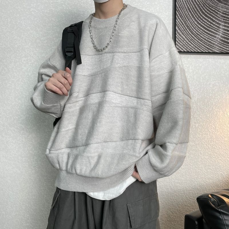 Korean O-neck Sweater Men's Warmth Fashion Retro Casual Knitted Pullover Men Wild Loose Winter  Mens Clothes M-XL