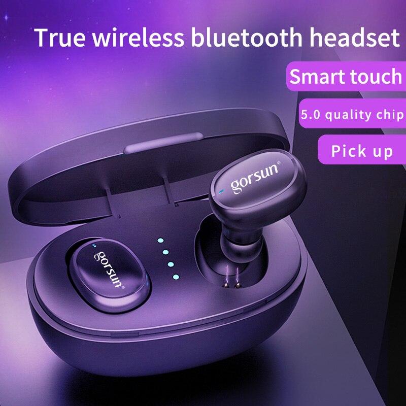 Gorsun V8 TWS BT5.0 auriculares Bluetooth inalámbricos en el oído huella digital táctil 3D stereo auriculares inalámbricos con micrófono dual