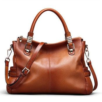 Nesitu Highend A4 Large Capacity Vintage Brown Genuine Leather Women Handbags Lady Shoulder Messeger Bag Female Totes M8866
