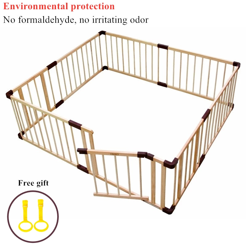 Brand Baby Game Fence Crawl Guardrail Safe Hurdles Baby Real Wood Solid Play Fence Baby Playpen Game Guard Panel  Wood Fence