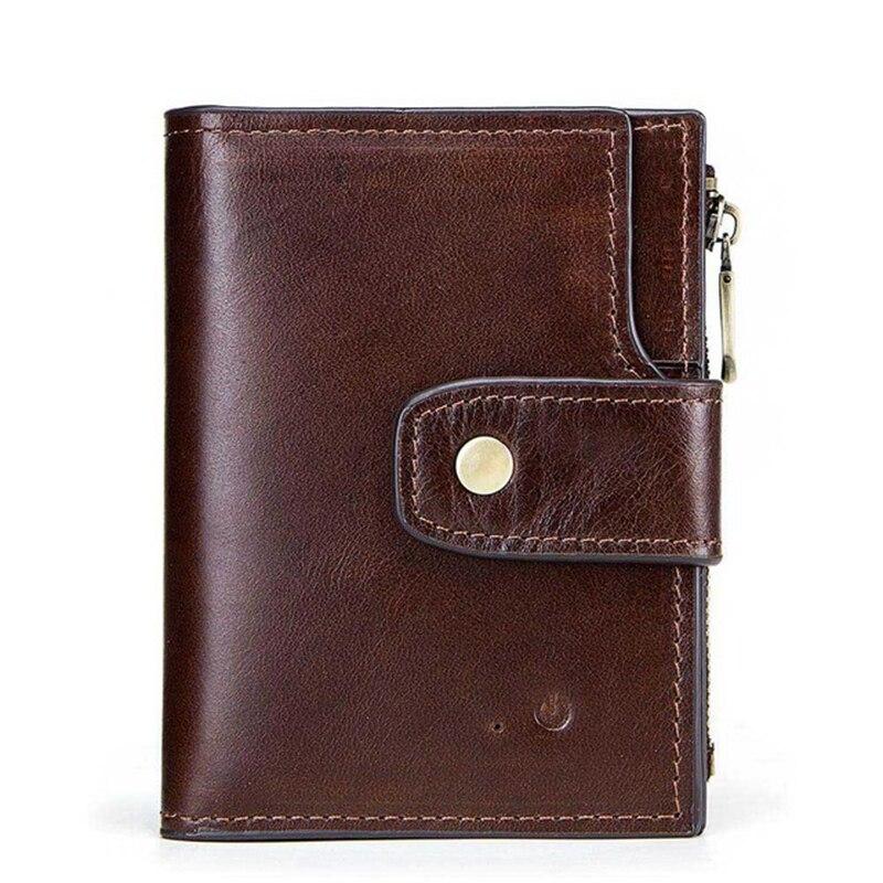 Smart Bluetooth Anti-lost Men's Wallet RFID Blocking Alarm GPS Map Multi Function Genuine Leather Le