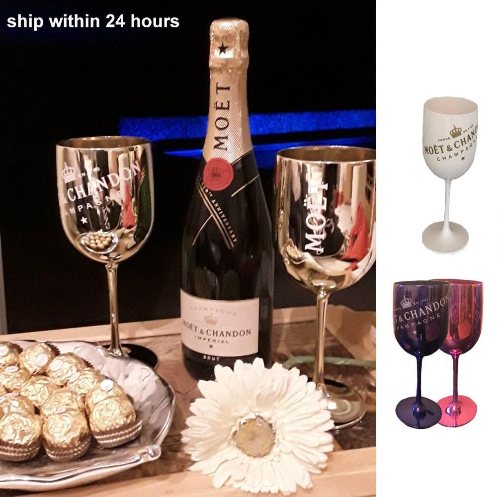 1 pçs wine party branco champanhe coupes cocktail vidro moet champanhe flautas chapeamento copo copo copos de plástico galvanizado