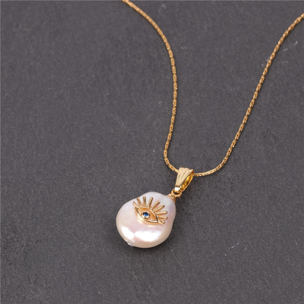 Joolim  Freshwater Pearl Pendant Necklace Stainless Steel Chain Baroque Eye Necklace High End Jewelry Wholesale