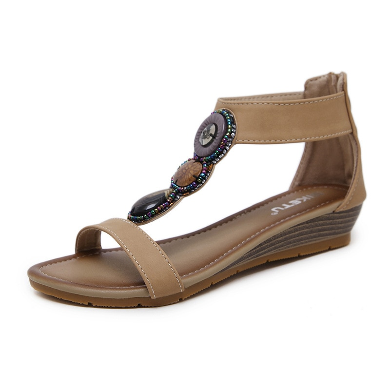 2021 Повседневная летняя обувь в этническом стиле сандалии Женщины Клин бисером ретро тапочки в римском стиле; Босоножки на полой подошве женская обувь pointshoes