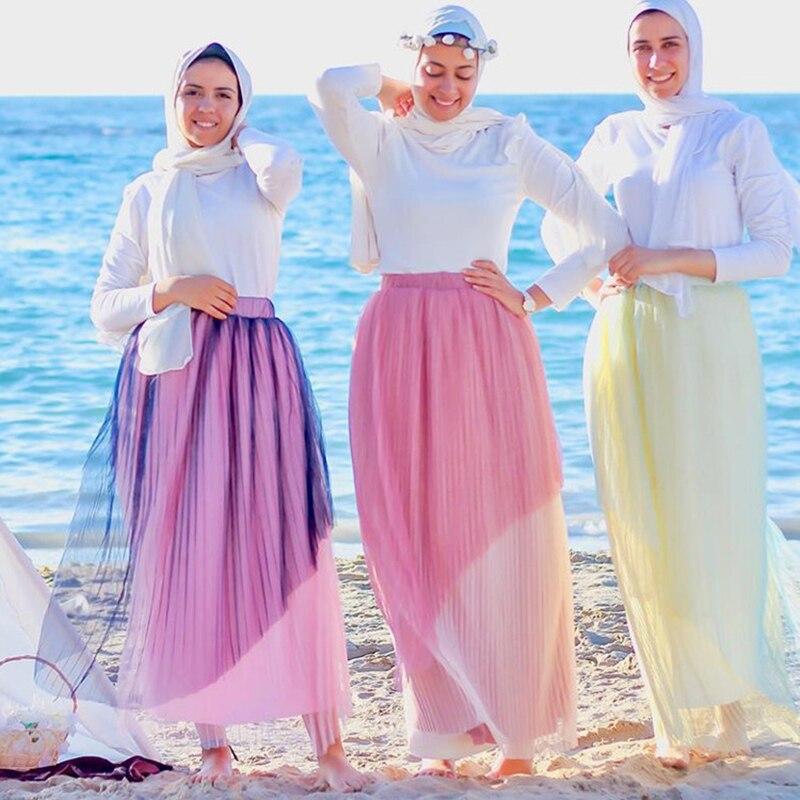 Moda abaya faldas plisadas vestido musulmán Jilbab Femme mumulman ropa islámica mujer Falda larga para musulmán