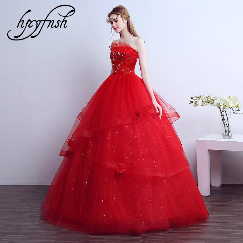 korean off White Red Strapless Wedding Dress Luxury Custom Made Cheap in China Bridal Gow Vestidos De Noiva Robe Mariage make